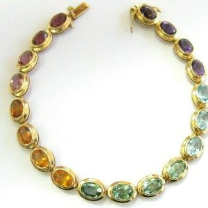 Oval Shape Multi Gemstone Tennis Bracelet Solid 14